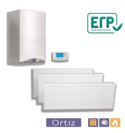 Calefacción caldera estanca mixta 24 kW, 9 radiadores, 72 elementos y termostato digital