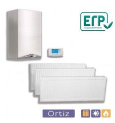 Calefacción caldera estanca mixta 24 kW, 8 radiadores, 64 elementos y termostato digital