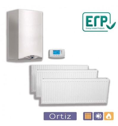 Calefacción caldera estanca mixta 24 kW, 6 radiadores, 48 elementos y termostato digital